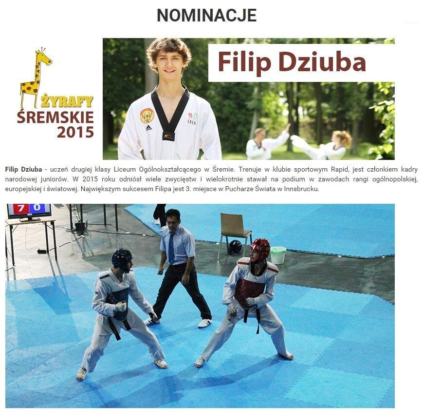 Filip Dziuba nominowany do prestiżowej nagrody Burmistrza Śremu